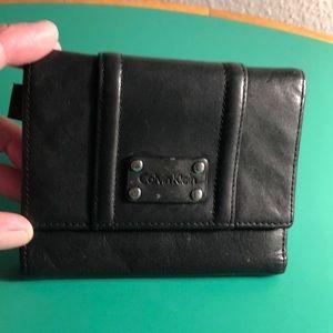 Calvin Klein Black Leather Trifold Wallet